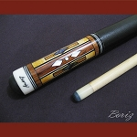 Boriz Billiards Black Leather Grip Pool Cue Stick Original Inlay Artwork 004