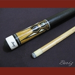 Boriz Billiards Black Leather Grip Pool Cue Stick Original Inlay Artwork 005