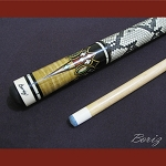 Boriz Billiards Snake Skin Grip Pool Cue Stick Original Inlay Artwork 009