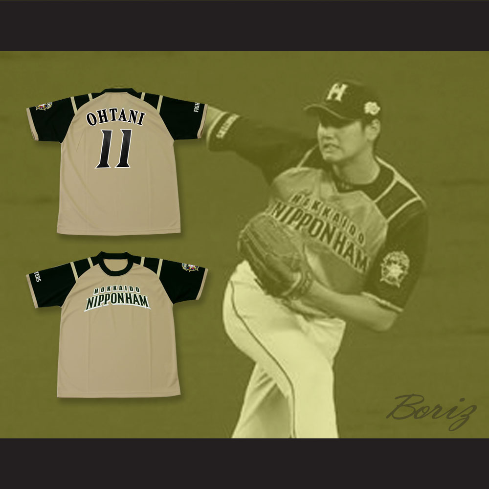 new products 2cc38 0ac3e Shohei Ohtani 11 Hokkaido Nippon-Ham Fighters Tan Baseball Jersey with Patch