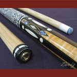 Boriz Billiards Snake Skin Grip Pool Cue Stick Original Inlay Artwork 013