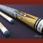 Boriz Billiards Snake Skin Grip Pool Cue Stick Original Inlay Artwork 014