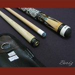 Boriz Billiards Snake Skin Grip Pool Cue Stick Original Inlay Artwork 015