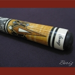 Boriz Billiards Snake Skin Grip Pool Cue Stick Original Inlay Artwork 016