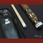 Boriz Billiards Brown Snake Skin Grip Pool Cue Stick Original Inlay Artwork 018
