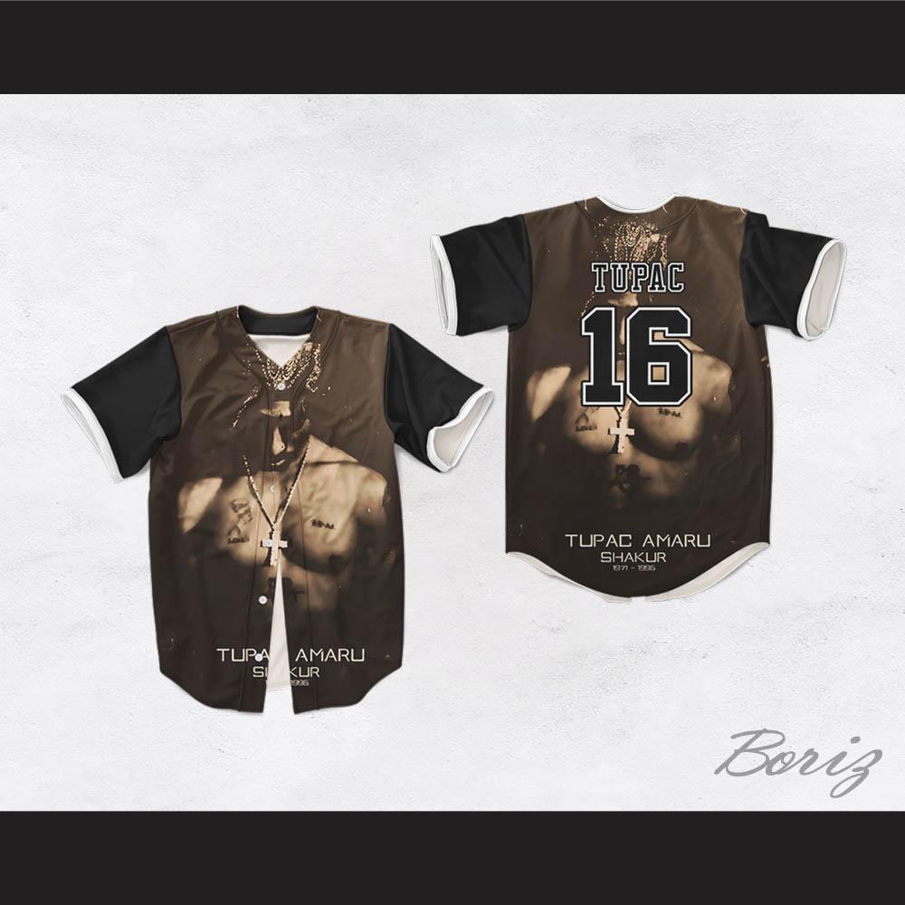 Tupac Shakur 16 Tribute 1971-1996 Black Baseball Jersey