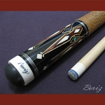 Boriz Billiards Brown Snake Skin Grip Pool Cue Stick Original Inlay Artwork 032