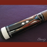Boriz Billiards Brown Snake Skin Grip Pool Cue Stick Original Inlay Artwork 035