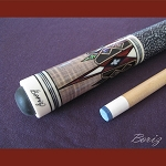 Boriz Billiards Linen Grip Pool Cue Stick Original Inlay Artwork 039