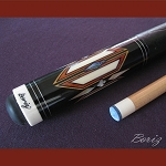 Boriz Billiards Black Leather Grip Pool Cue Stick Original Inlay Artwork 040