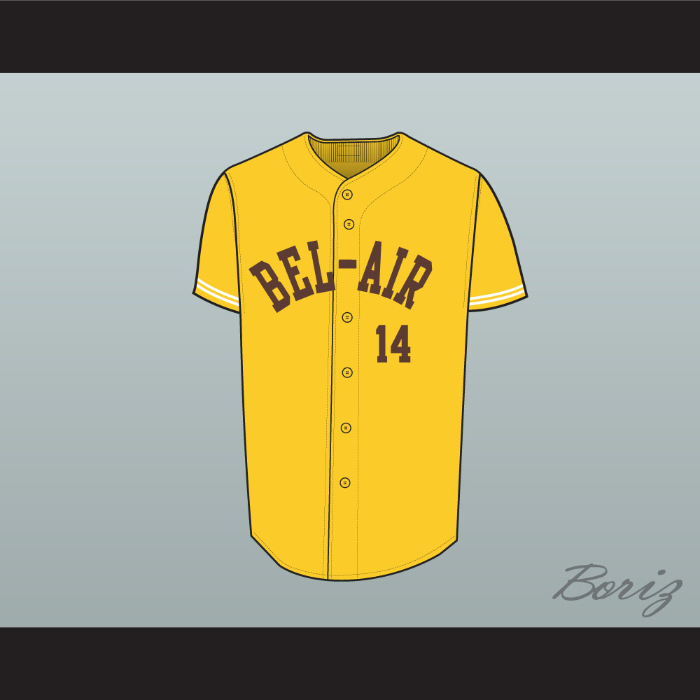 best service 3e9dc c2fcc Fresh Prince Will Smith Bel-Air Academy Baseball Jersey Yellow