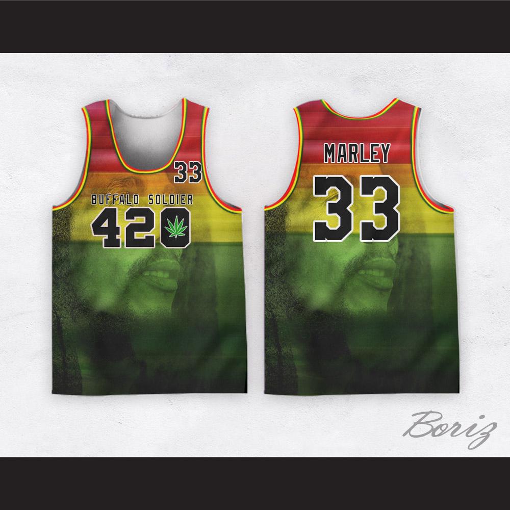 c7adb3dd9b8d Bob Marley 33 420 Buffalo Soldier Rasta Style Basketball Jersey