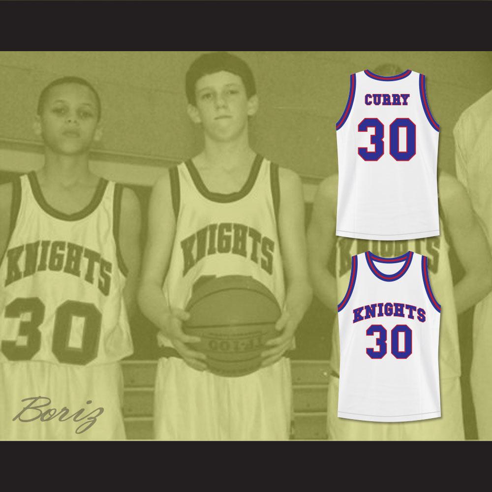 37959cb70 Stephen Curry 30 Charlotte Christian High School Knights White ...