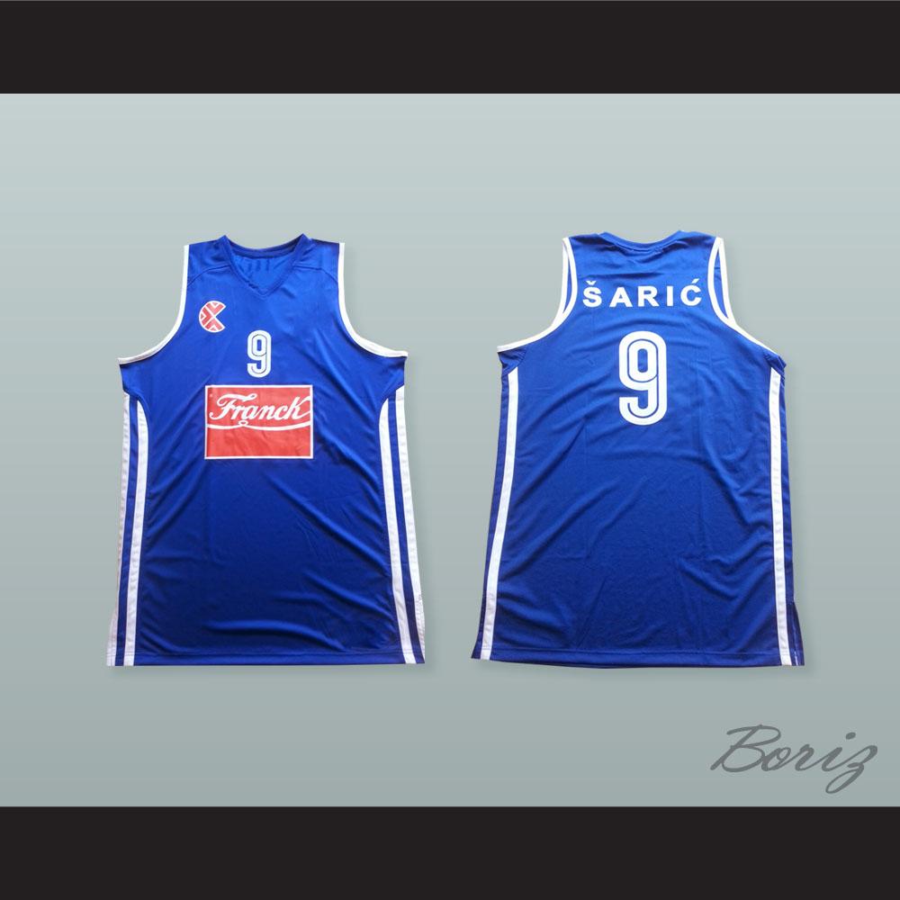 big sale 9b555 47712 Dario Saric 9 KK Cibona Zagreb Basketball Jersey with Patch