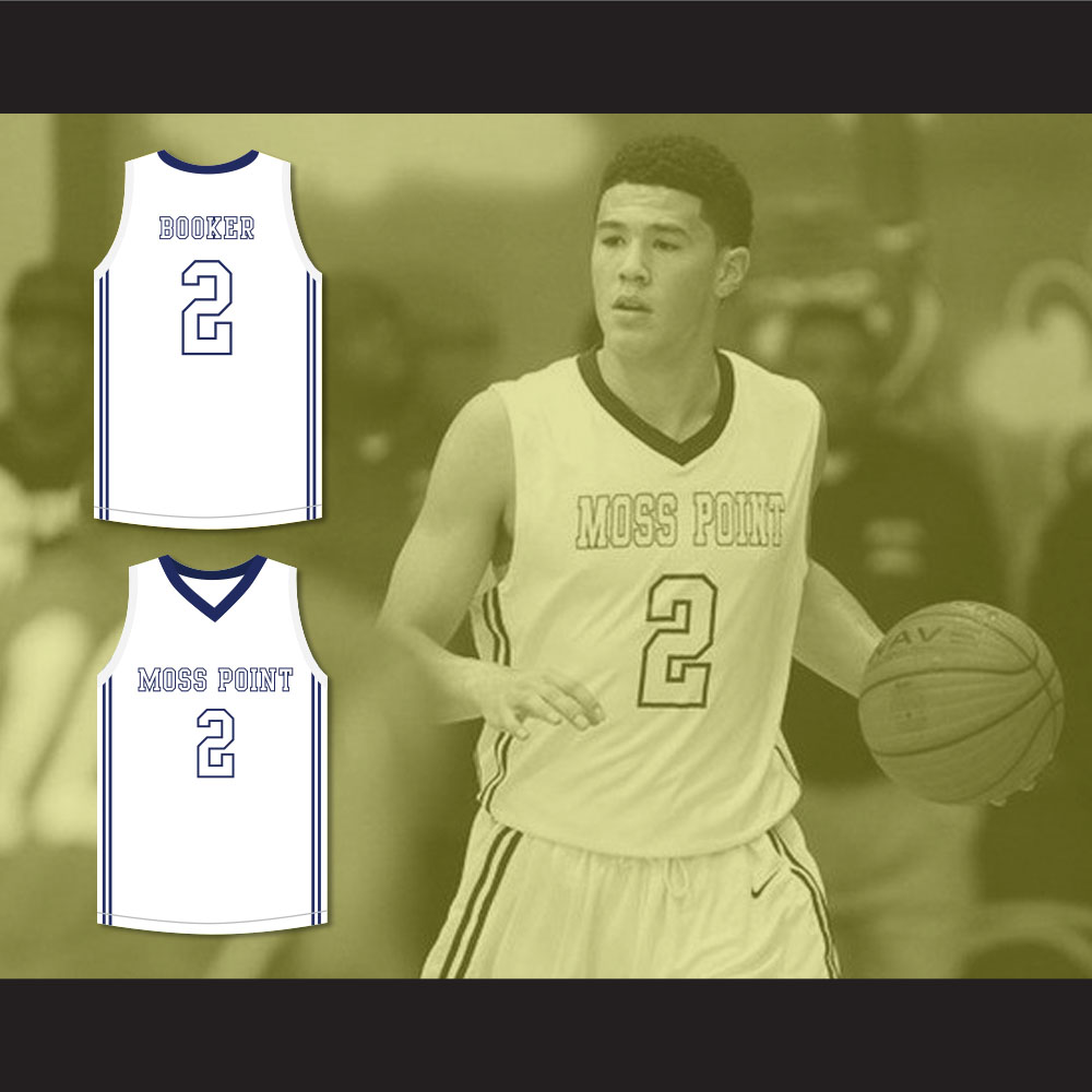 ac6ae81bb ... top quality devin booker 2 moss point high school white basketball  jersey 2 33f1c 9158d