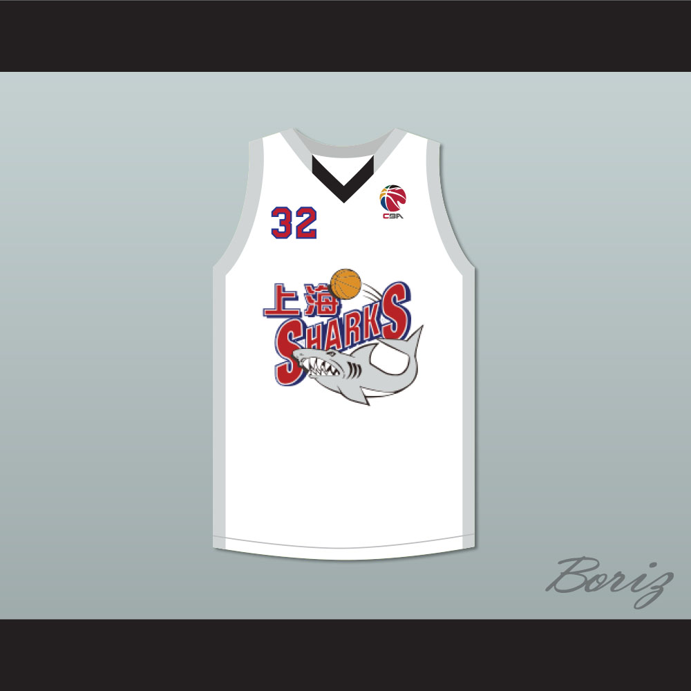 super cute 399d4 5b9e4 Jimmer Fredette 32 Shanghai Sharks Alternate White Basketball Jersey with  CBA Patch