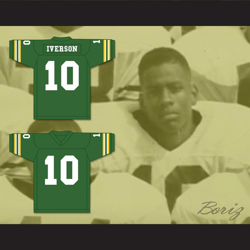 5cc2b9a3364 Allen Iverson 10 Bethel High School Bruins Green Football Jersey