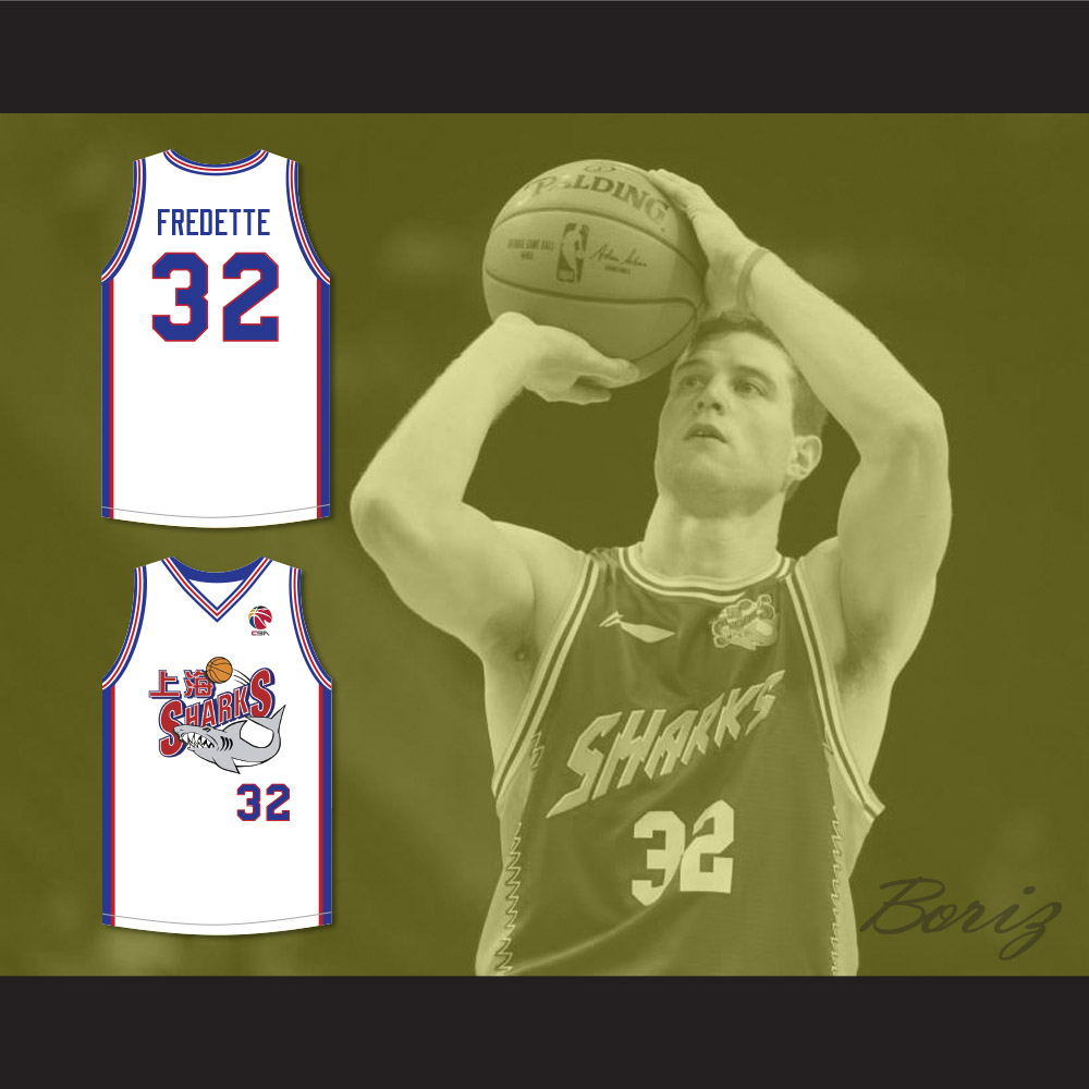 ea35679c7f59 Jimmer Fredette 32 Shanghai Sharks White Basketball Jersey with CBA ...