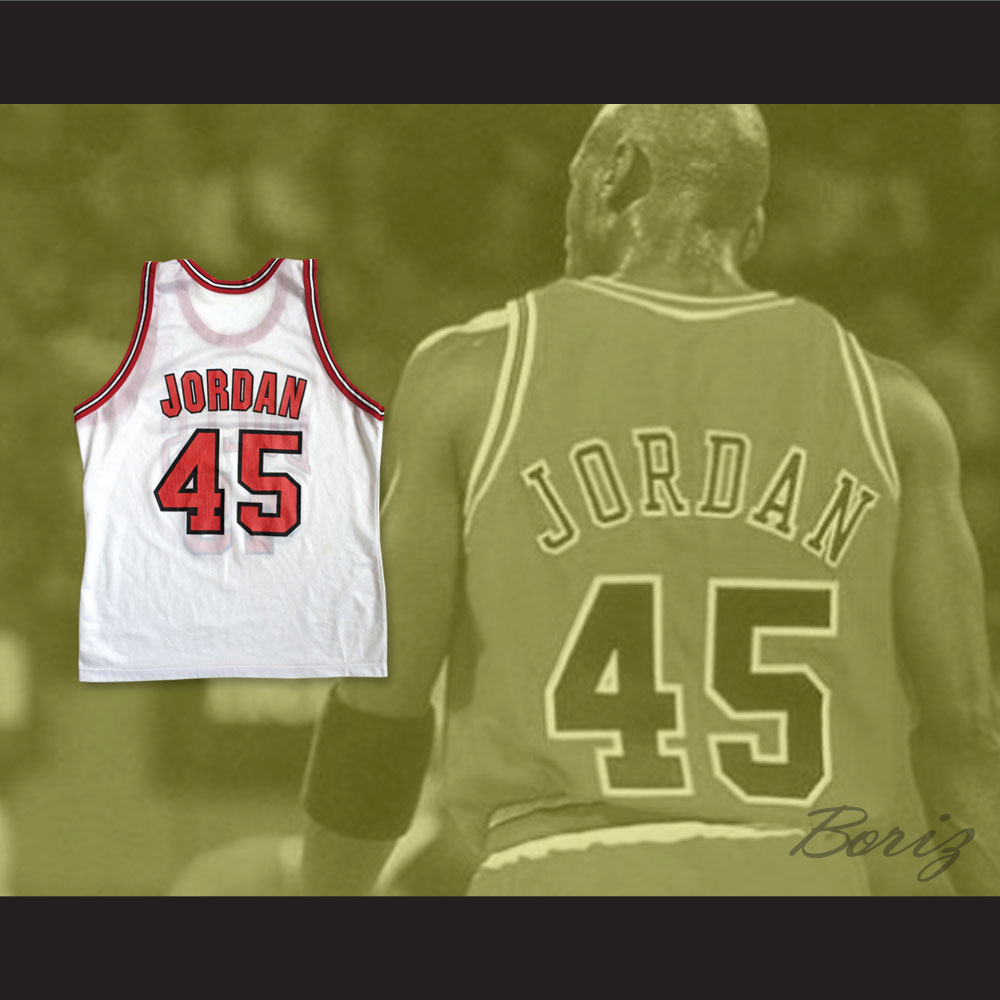 meet a3567 8e164 Michael Jordan 45 Post Retirement White Basketball Jersey