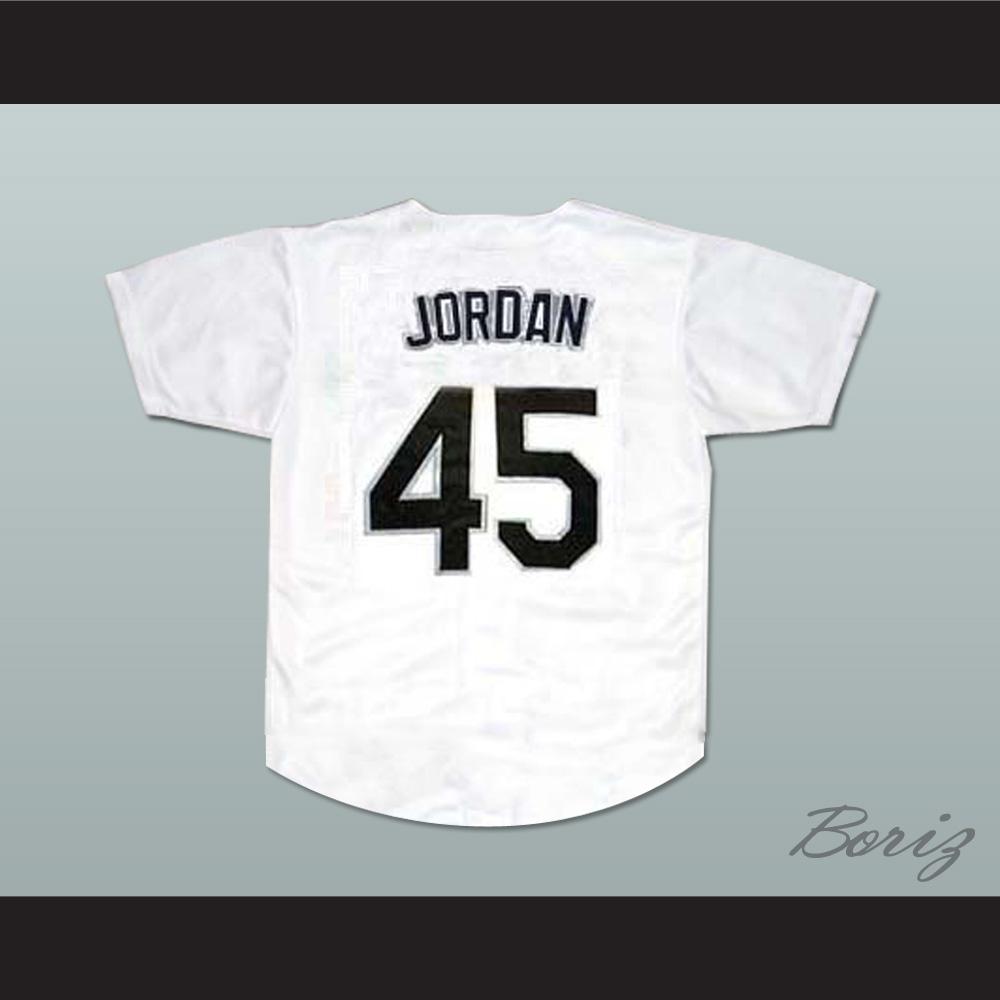 reputable site 958e0 6b6ee Michael Jordan 45 Birmingham Barons Baseball Jersey White