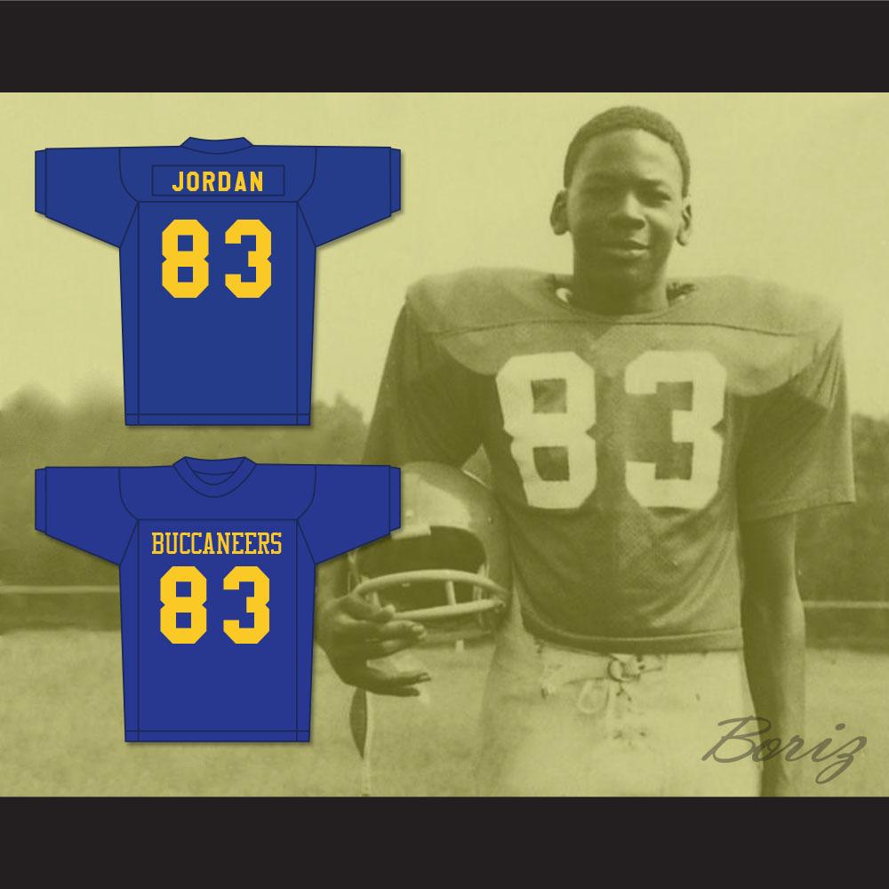 fcad5ccd4c2 Michael Jordan 83 Laney High School Buccaneers Blue Football Jersey