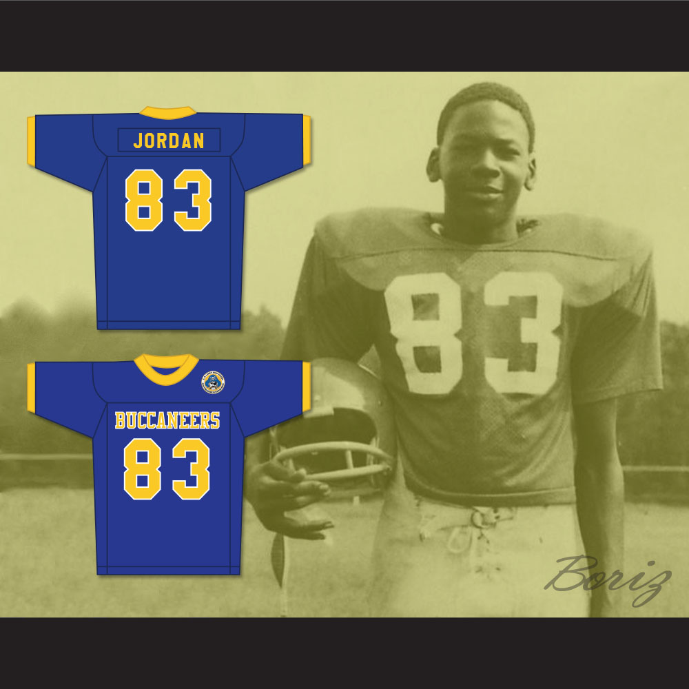 low priced d4fb5 456c6 Michael Jordan 83 Laney High School Buccaneers Blue Football Jersey with  Patch 2