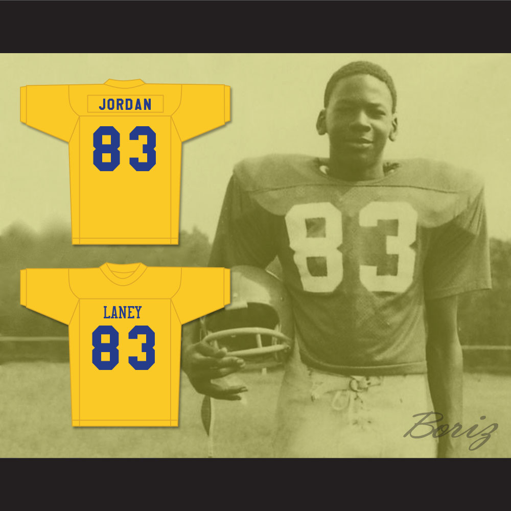 cheap for discount 386bf ad40f Michael Jordan 83 Laney High School Buccaneers Yellow Football Jersey