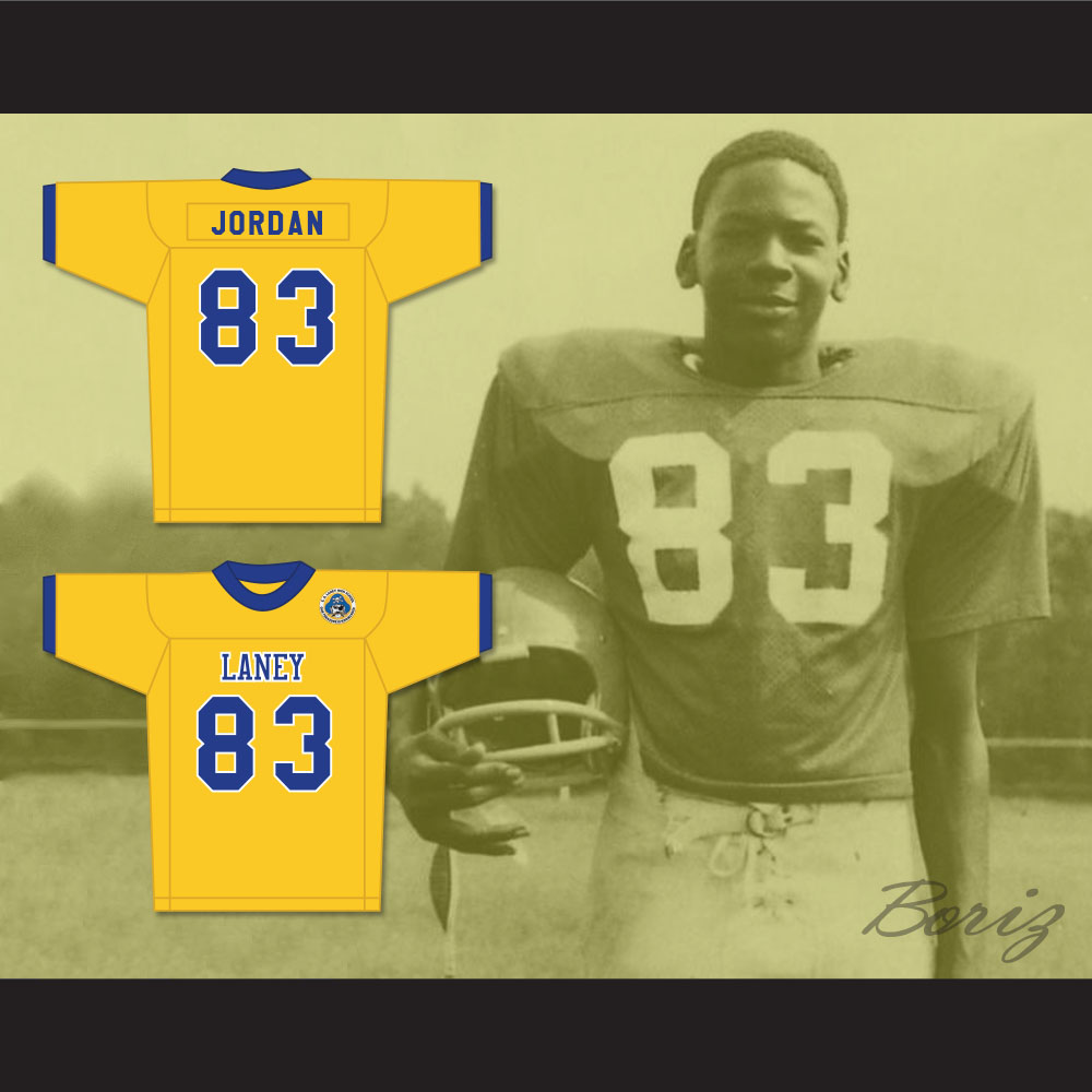 the best attitude 1581e f18a9 Michael Jordan 83 Laney High School Buccaneers Yellow Football Jersey with  Patch 2