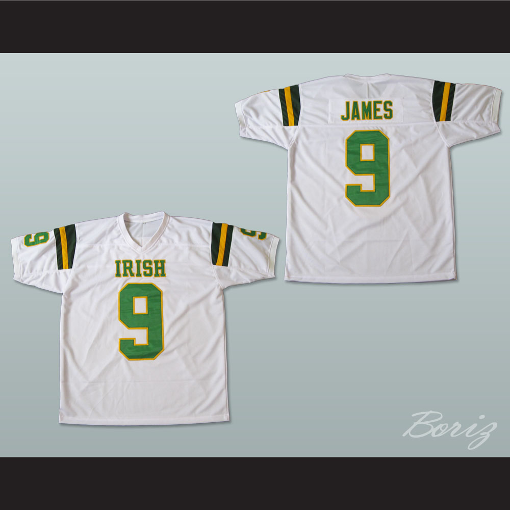 the best attitude 446e3 a6704 Lebron James 9 Fighting Irish High School Football Jersey White
