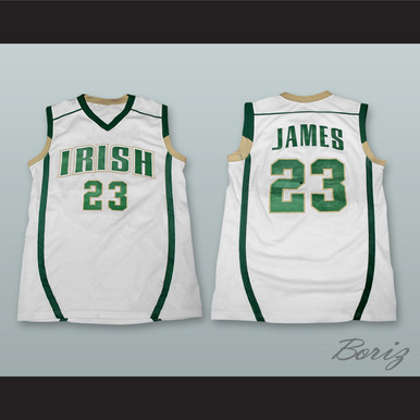 cheap for discount 4ddf5 4542d LEBRON JAMES FIGHTING IRISH HIGH SCHOOL WHITE BASKETBALL JERSEY STITCH SEWN