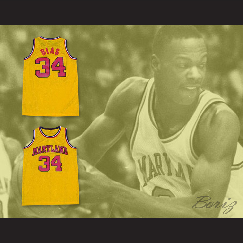 buy popular 1ae2e 8775c Len Bias 34 Maryland Yellow Basketball Jersey