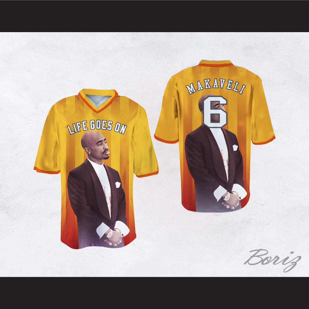 Tupac Shakur Makaveli 6 Life Goes On Yellow/Orange Football Jersey