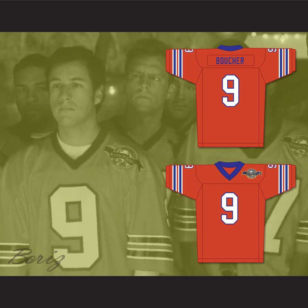Bobby Boucher 9 Mud Dogs Home Football Jersey with Bourbon Bowl Patch 5210b6269