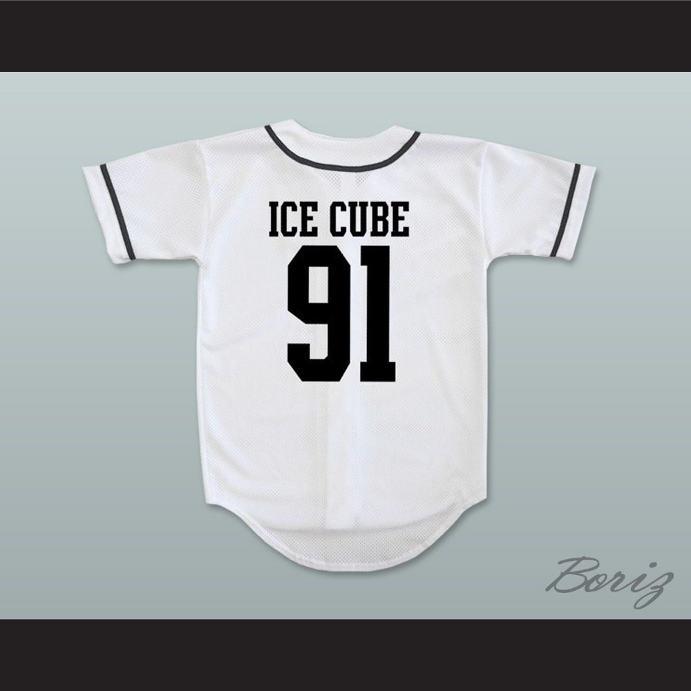 check out ee964 6dc6c N.W.A. Ice Cube 91 White Baseball Jersey