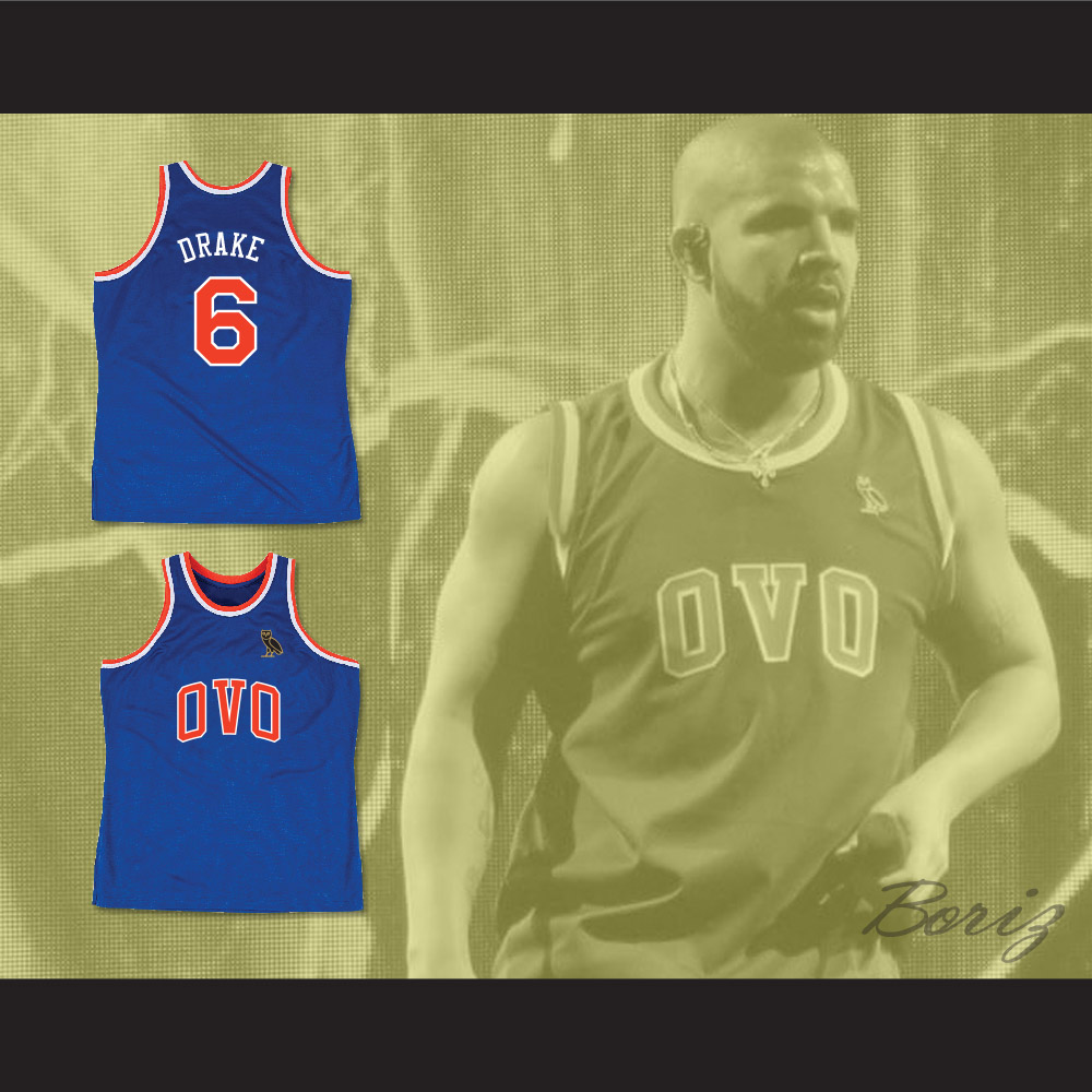 6e4795b93338 Drake 6 OVO Blue Basketball Jersey MSG NYC with Owl Patch
