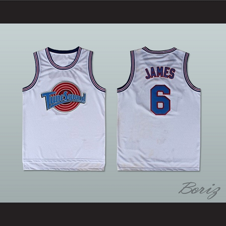 san francisco 68da2 0524d LEBRON JAMES 6 TUNE SQUAD WHITE BASKETBALL JERSEY ANY PLAYER OR NUMBER