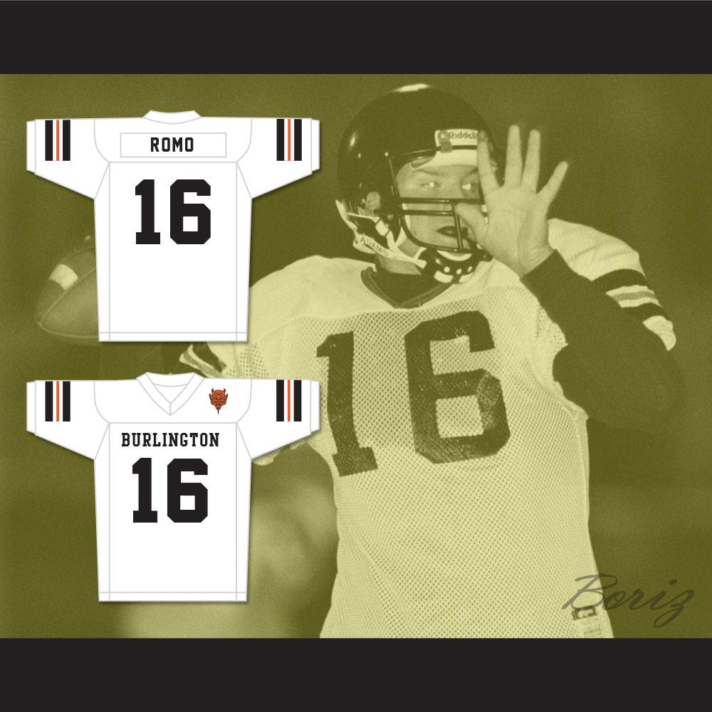 pretty nice 722a0 815da Tony Romo 16 Burlington High School Demons White Football Jersey with Patch