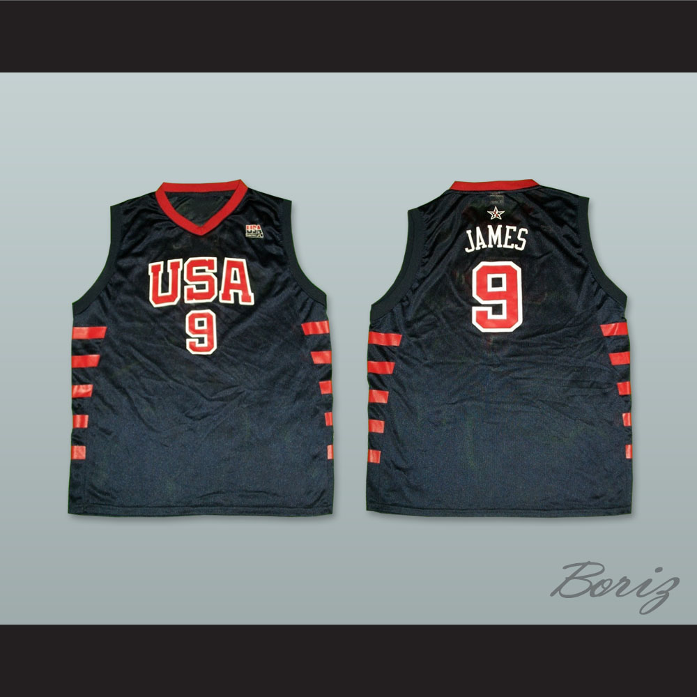 pretty nice a6bf2 fa536 Lebron James 9 USA Team Away Basketball Jersey