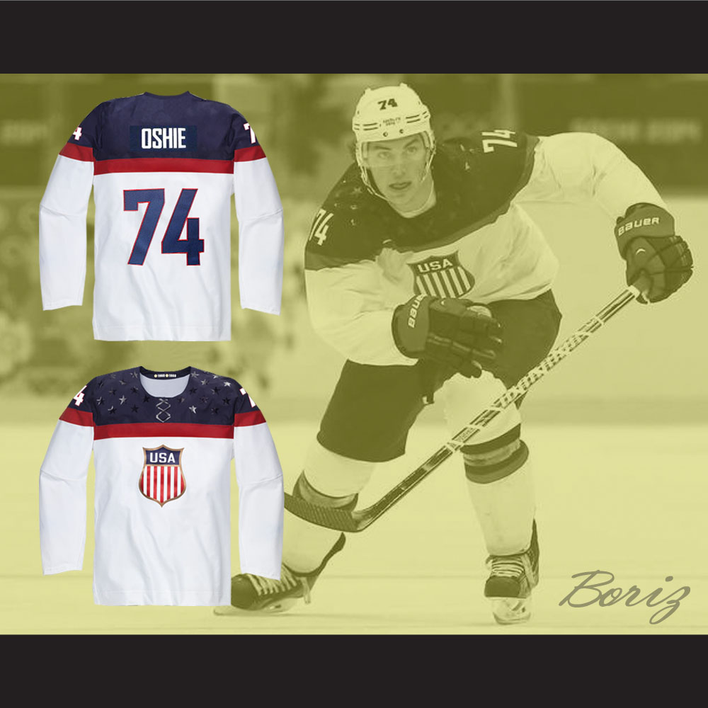 low priced 2235d e84aa T.J. Oshie 74 USA National Team Hockey Jersey White