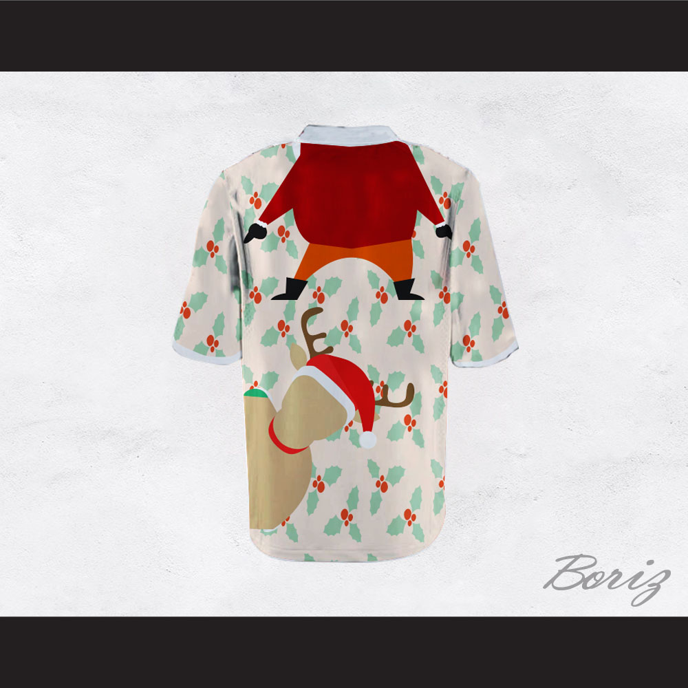 Santa Claus and Reindeer Ugly Christmas Sweater Print Beige Football ...