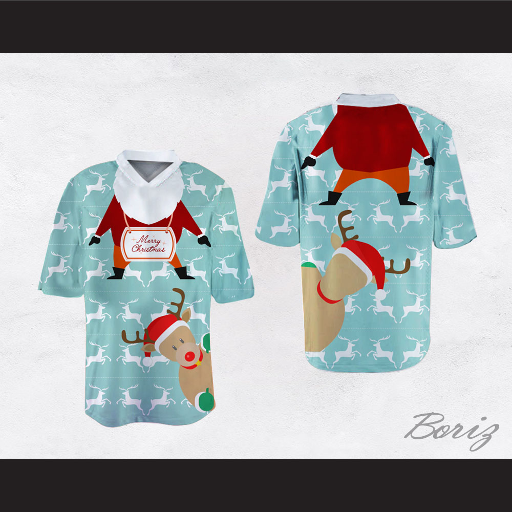 Santa Claus and Reindeer Ugly Christmas Sweater Print Light Blue ...