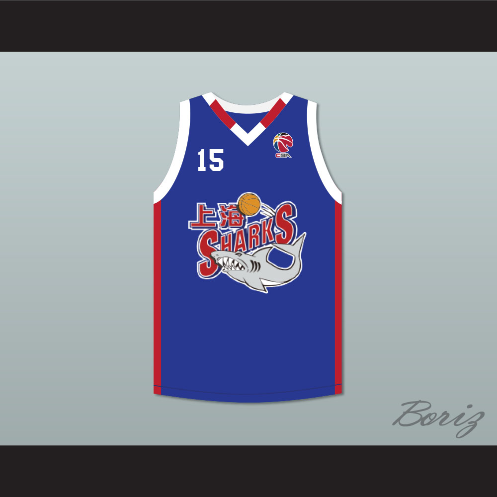 purchase cheap b15ea d90ba Yao Ming 15 Shanghai Sharks Alternate Blue Basketball Jersey with CBA Patch