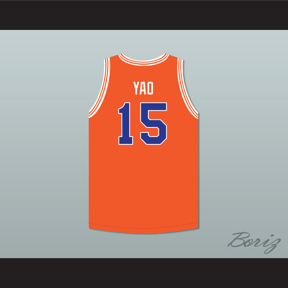 cheap for discount b43a5 f6cbc Yao Ming 15 Shanghai Sharks Orange Basketball Jersey with CBA & Sharks Patch