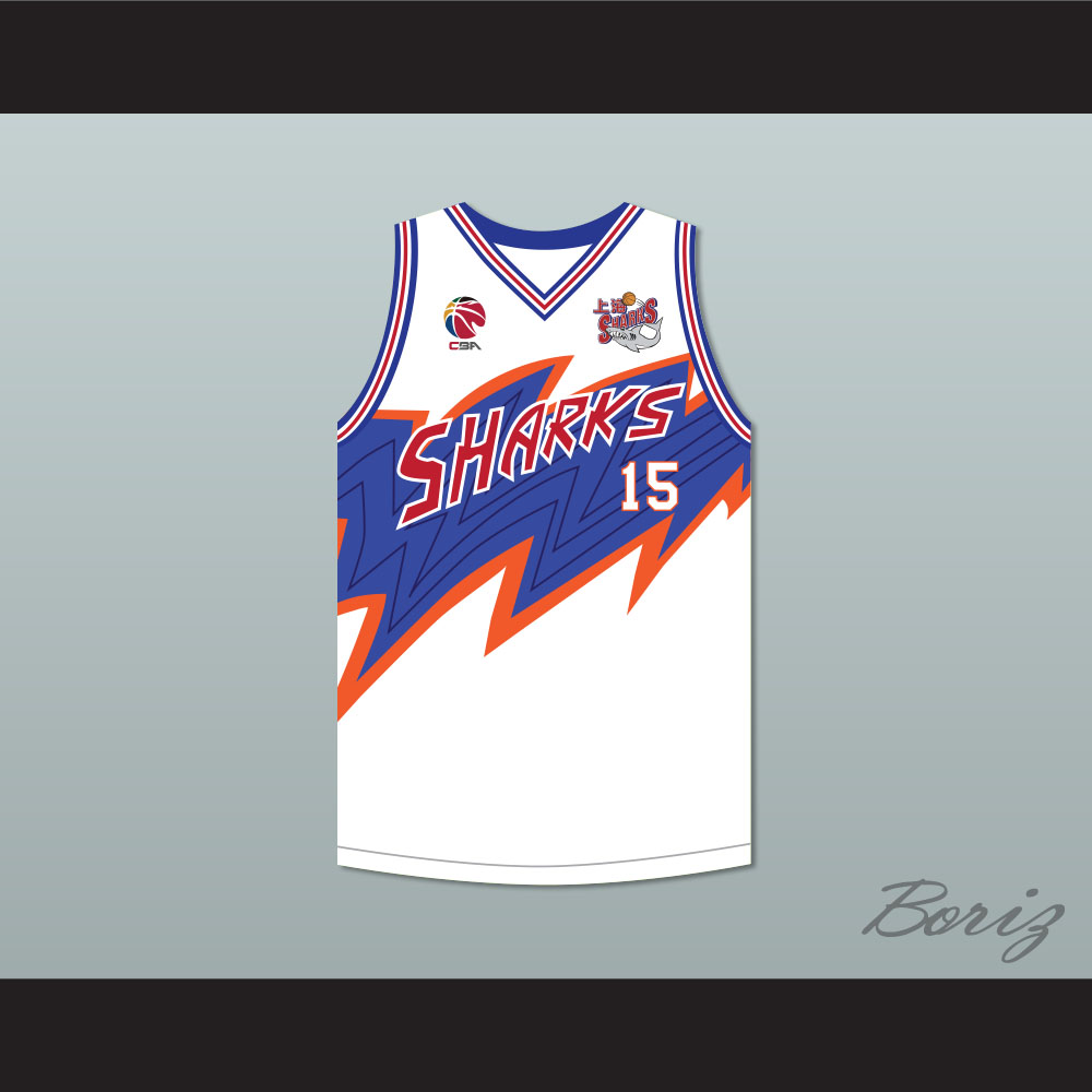 on sale 176cc 09c47 Yao Ming 15 Shanghai Sharks White Basketball Jersey with CBA & Sharks Patch
