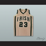 LEBRON JAMES FIGHTING IRISH HIGH SCHOOL TAN BASKETBALL JERSEY STITCH SEWN