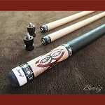 Boriz Billiards Pro Series Black Leather Grip w/ Pool Cue Joint Protectors