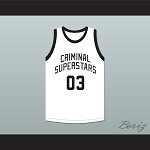 Bonnie & Clyde Criminal Superstars Clyde 03 White Basketball Jersey