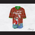 DJ Santa Claus Let's Get Poppin Ugly Christmas Sweater Print Red Football Jersey