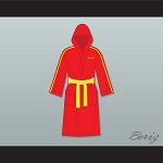 Ivan Drago Russia Red Satin Full Boxing Robe with Hood