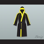 Rocky VI Black Satin Full Boxing Robe with Hood
